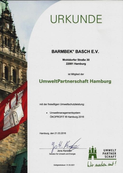 Das Barmbek°Basch ist UmweltPartner der Stadt Hamburg
